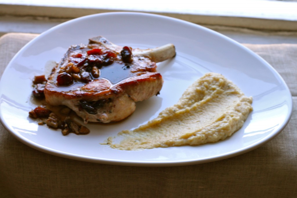 Cranberry-Pecan Stuffed Pork Chops with Apple-Parsnip Mash make a cozy fall dinner! | TheCornerKitchenBlog.com