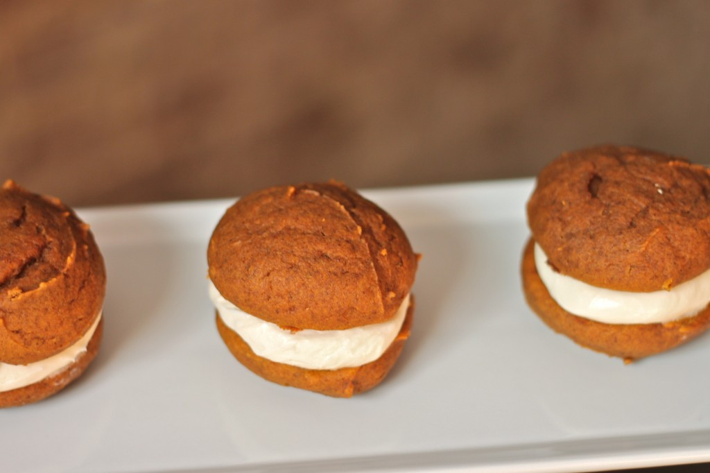 Pumpkin Whoopie Pies are a fall baking essential + nothing short of amazing! | TheCornerKitchenBlog.com #pumpkin