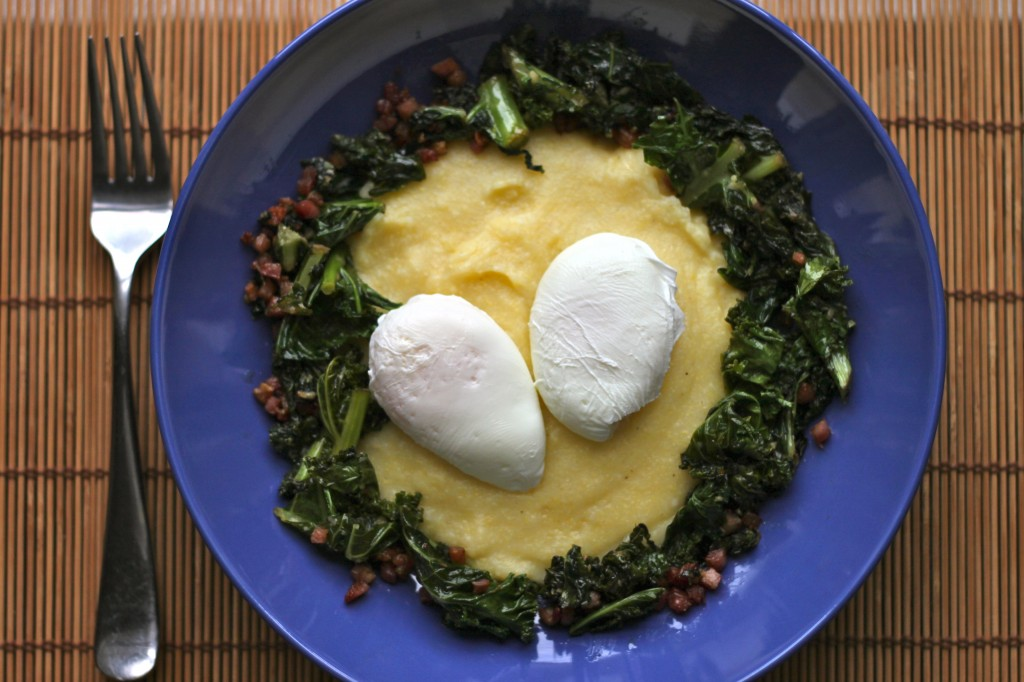 Poached Eggs with Polenta, Braised Kale and Pancetta