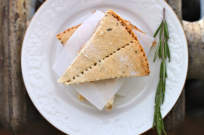 Sweet & savory Rosemary Shortbread Cookies make a great edible gift! | TheCornerKitchenBlog.com #ediblegift #cookies #baking