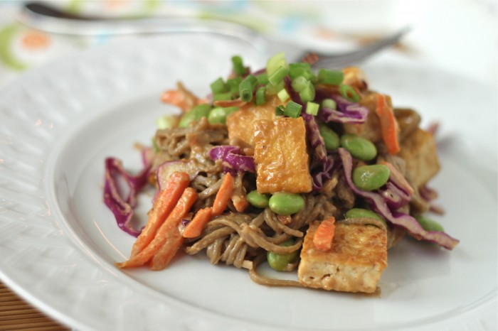 Soba Noodles and Tofu with Spicy Peanut Sauce is perfect for a quick (vegan & gluten free) weeknight meal! | TheCornerKitchenBlog.com #vegan #weeknightmeal
