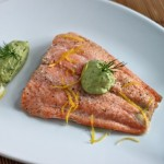 Oven-Baked Salmon with Avocado-Dill Crema