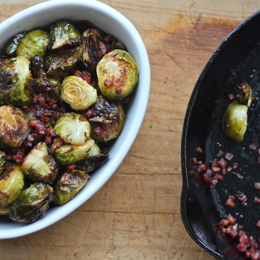 Tossed with crispy pancetta and a hint of maple syrup, Maple Roasted Brussels Sprouts are a must-have Thanksgiving side dish! | TheCornerKitchenBlog.com #sidedish #thanksgiving #brusselssprouts