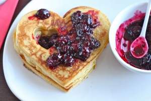 Clementine Cornmeal Pancakes with Maple Blackberry Compote