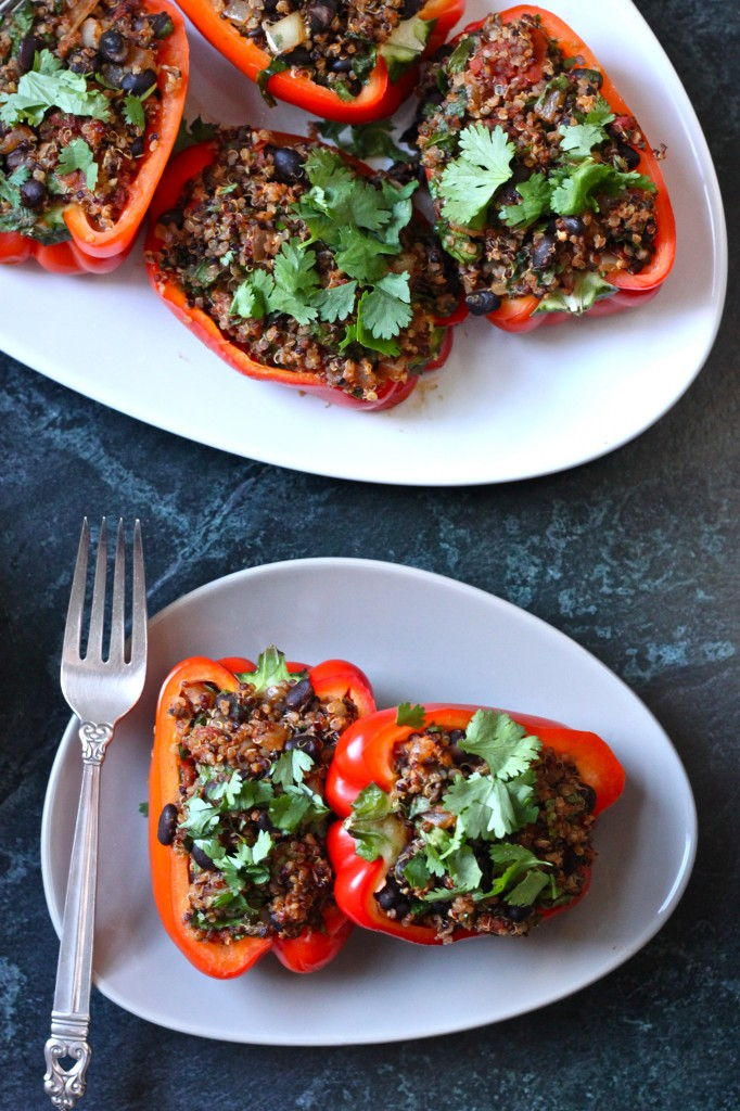Vegan Quinoa Stuffed Peppers are a healthy, filling dinner that's easy to make and ready in 30 minutes.