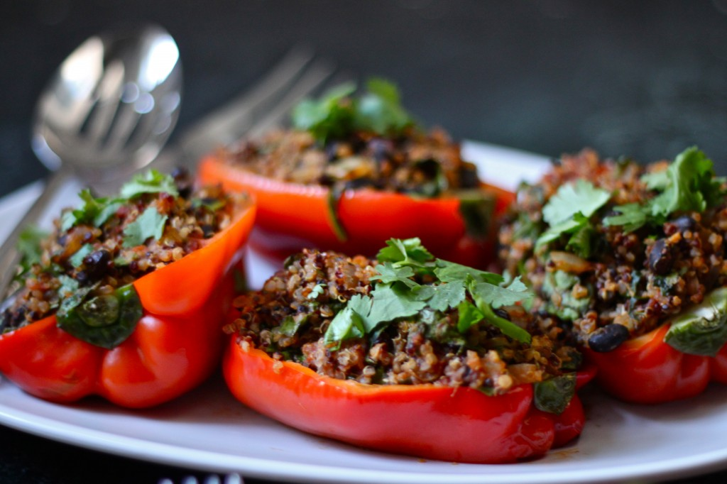 These Quinoa Stuffed Peppers are the perfect meal for anyone who loves getting dinner ready in just 30 minutes!  TheCornerKitchenBlog.com