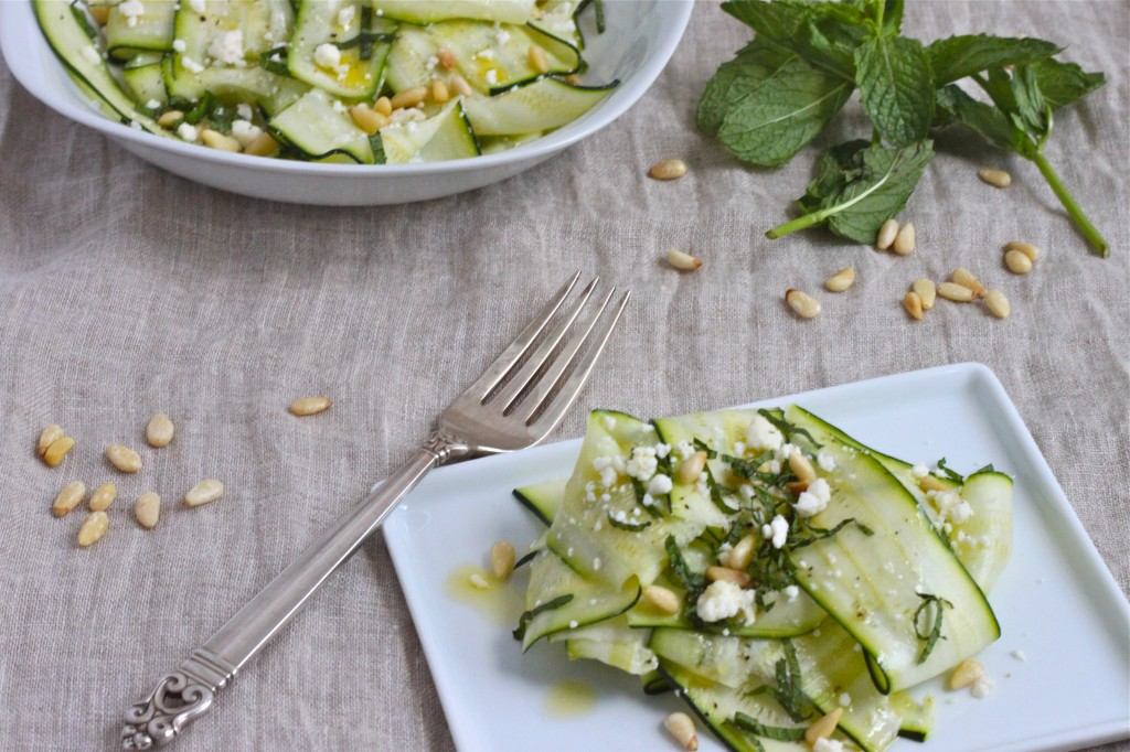 Zucchini Ribbon Salad with Toasted Pine Nuts, Mint and Feta ...