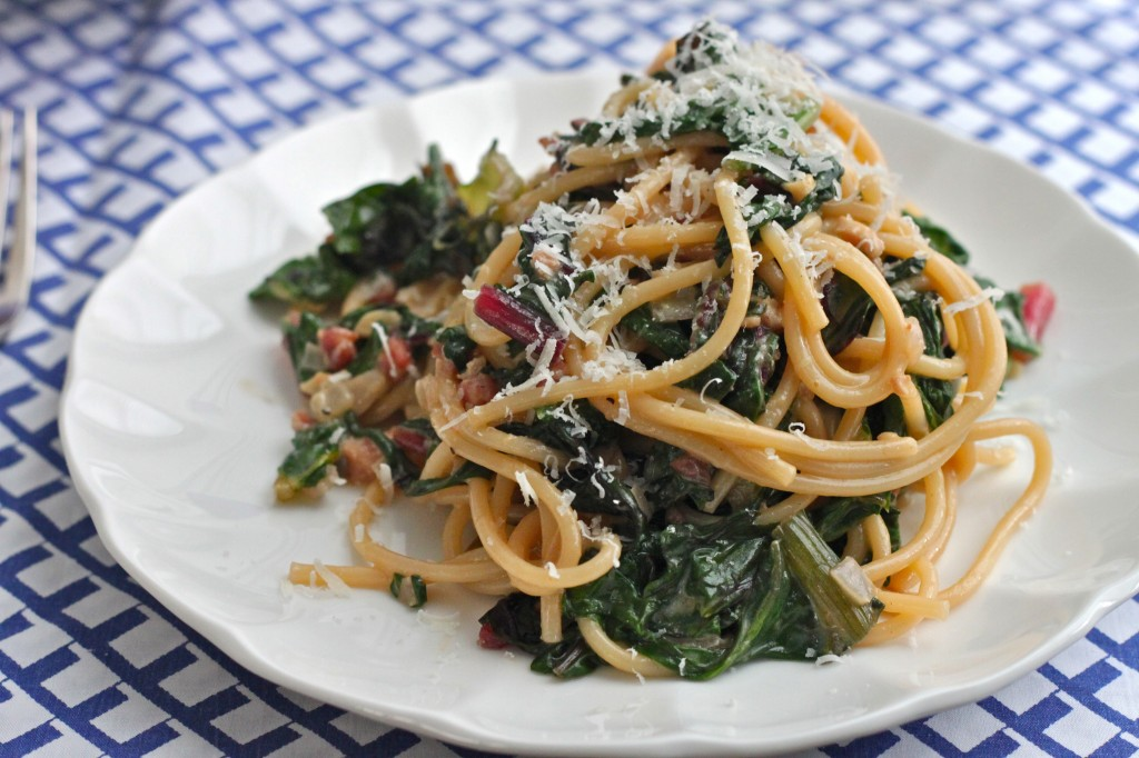 Linguine Carbonara with Rainbow Chard