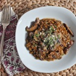 Wholegrain freekeh makes a great (and healthy!) substitute for arborio rice. Try it in this Freekeh Risotto with Mushrooms and Tarragon! | TheCornerKitchenBlog.com #freekeh