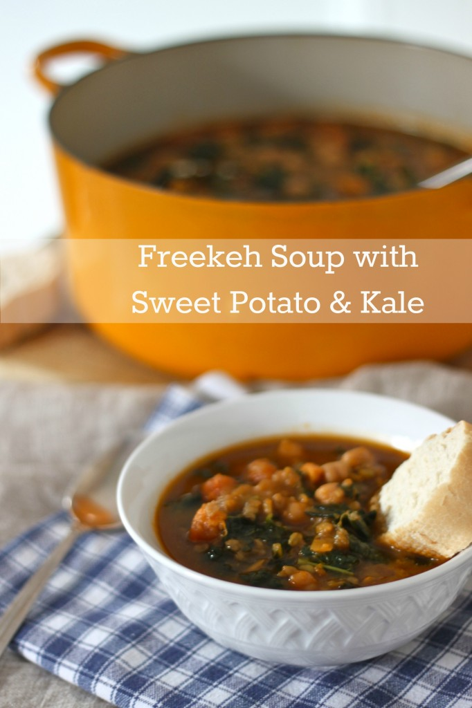 Warm up this fall with a big bowl of {Vegan} Freekeh Soup with Sweet Potato and Kale | TheCornerKitchenBlog.com #freekeh #vegan
