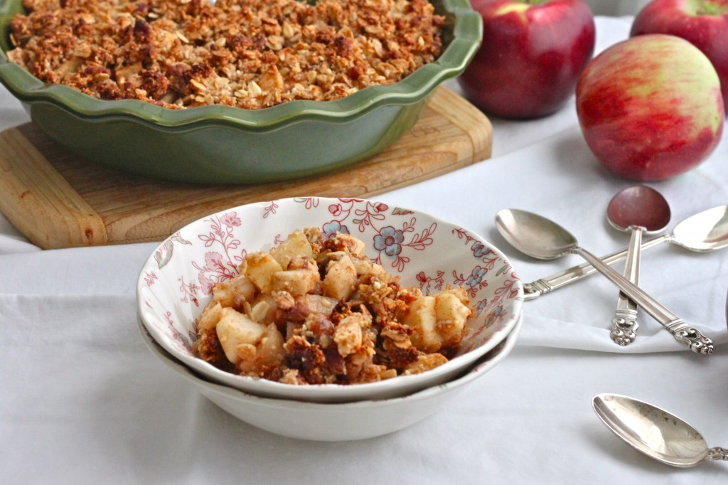 Gluten Free Apple Crisp is an easy, healthier & naturally sweetened version of the fall favorite dessert. It's always a crowd pleaser!  TheCornerKitchenBlog.com
