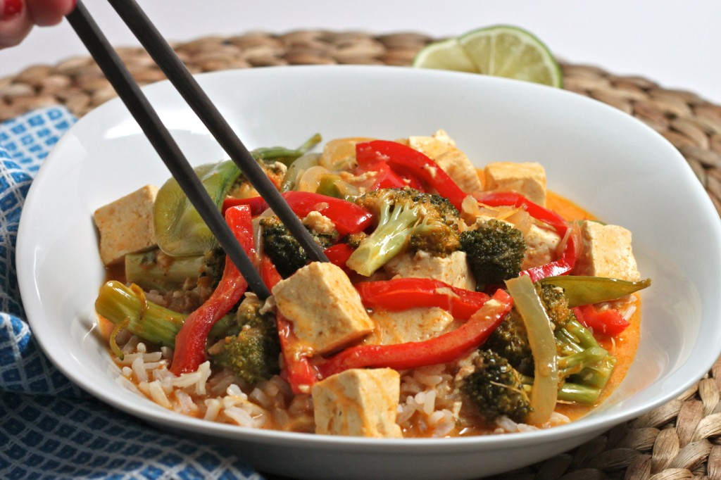 Vegan Red Thai Curry is a perfect quick dinner for Meatless Monday...and every other day!  TheCornerKitchenBlog.com