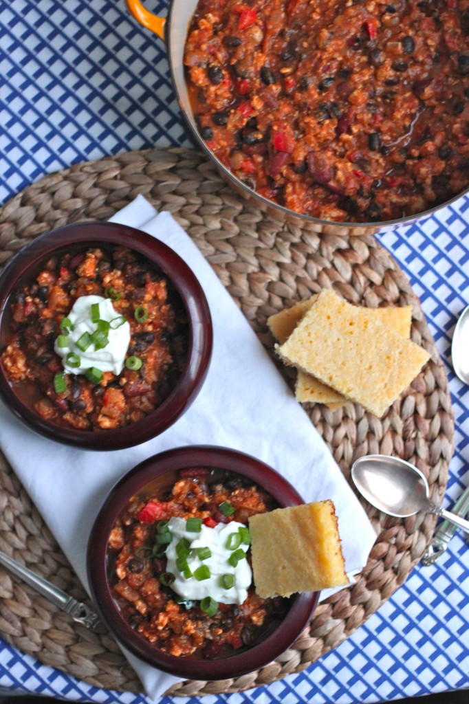 Don't let fall slip by without a big batch of Turkey Pumpkin Chili! Don't forget the cornbread! | TheCornerKitchenBlog.com