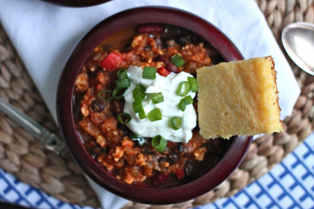 Turkey Pumpkin Chili is a hearty, healthy mix of lean ground turkey, diced tomatoes & pumpkin, a warm blend of spices and black beans. | TheCornerKitchenBlog.com #chili #pumpkin #healthy