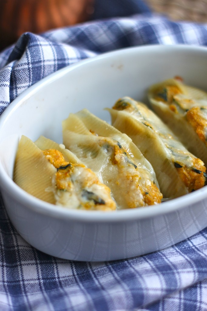 Butternut Squash and Kale Stuffed Shells put healthy and comfort food in the same sentence. Get these on your table asap!  TheCornerKitchenBlog.com