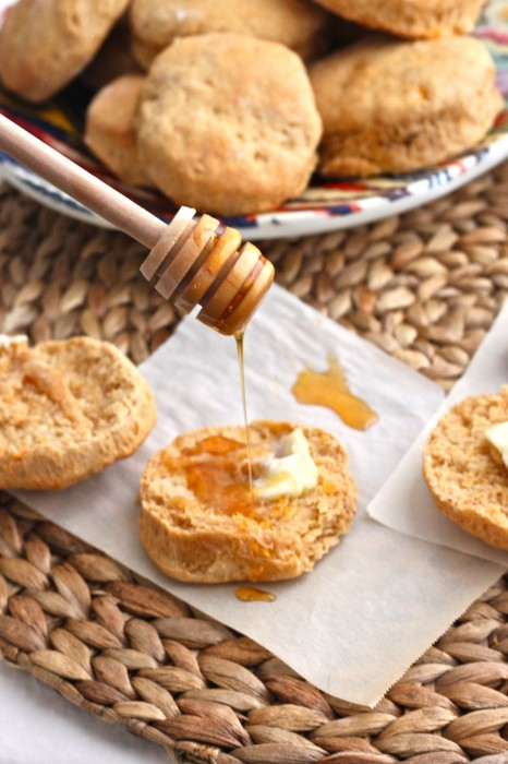 Pillowy Sweet Potato-Honey Buttermilk Biscuits are so delicious served warm, straight from the oven with a pat of butter & drizzle of honey or jam! | TheCornerKitchenBlog.com