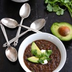 Vegetarian Black Bean Soup is a healthy, hearty, easy to make meal! | TheCornerKitchenBlog.com #soup #healthy #vegetarian