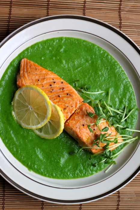Citrus Roasted Salmon with Spring Pea Sauce
