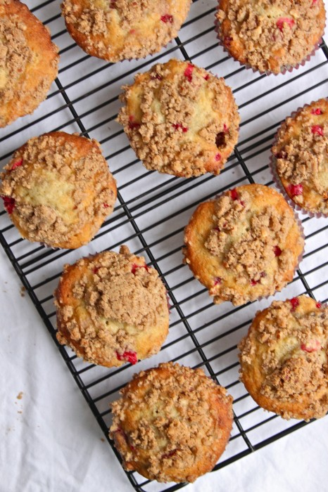 Take your Banana Muffins from ordinary to extraordinary with fresh cranberries & brown sugar-pecan streusel! | TheCornerKitchenBlog.com  #recipe #breakfast