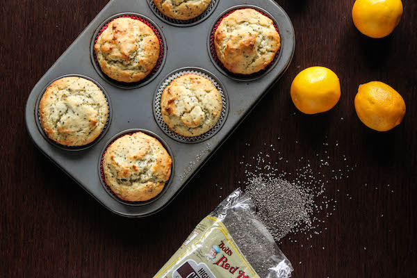 Greek yogurt and olive oil make these Meyer Lemon Chia Seed Muffins healthier & even more tasty! | TheCornerKitchenBlog.com #healthy #chia