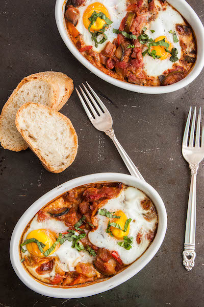 Ratatouille with Baked Eggs is a healthy, veggie filled meal that's perfect for breakfast or brunch, or even a light dinner! | TheCornerKitchenBlog.com #healthy