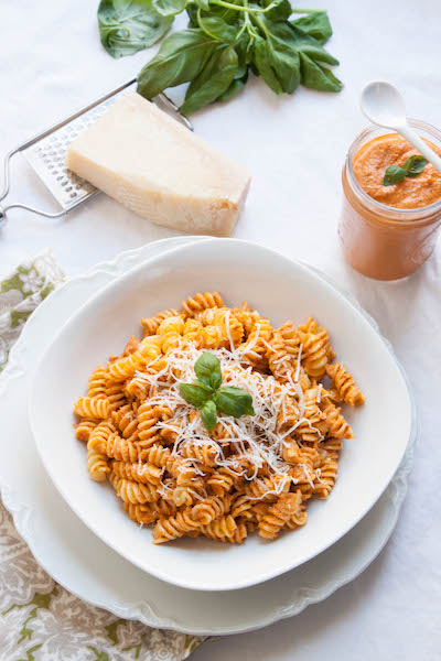 Roasted Red Pepper Pesto perfect for those nights that you don't want to put a lot of effort into cooking and you're ready to eat now