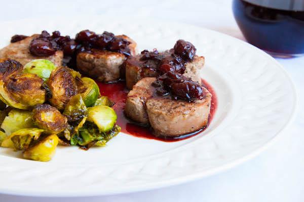 Pork Medallions w. Tart Cherry-Red Wine Reduction - The Corner Kitchen
