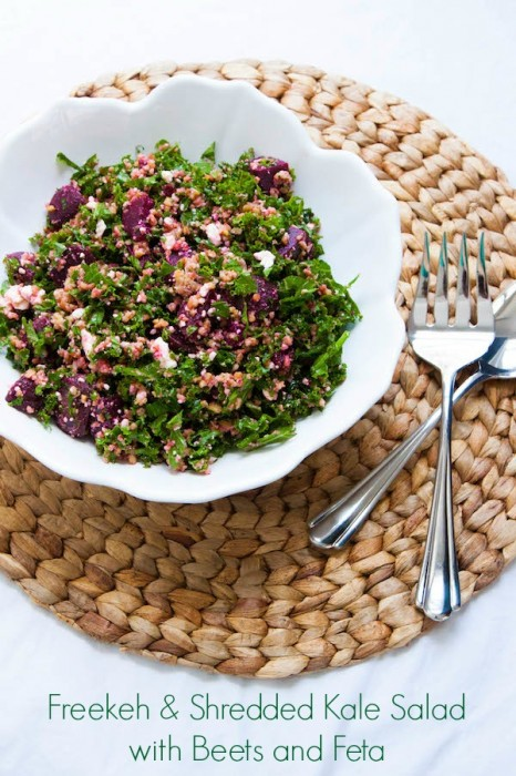 This super healthy salad combines freekeh, shredded kale, beets and feta cheese with a light lemon vinaigrette. It