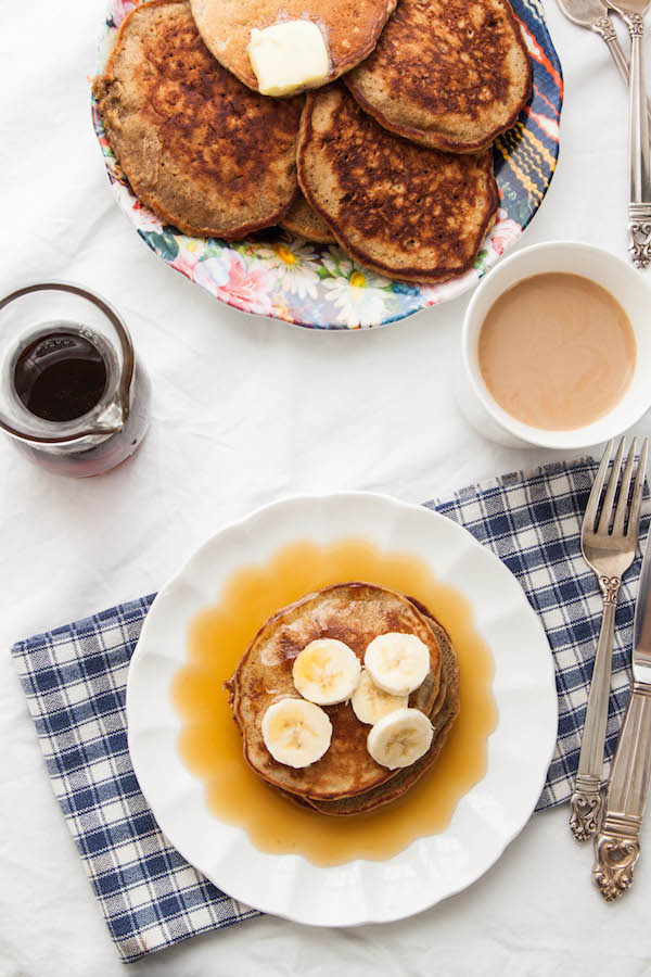 For those mornings that call for extra coffee, kickstart your day with a stack of Espresso Banana Pancakes! | TheCornerKitchenBlog.com #pancakes #recipe #breakfast