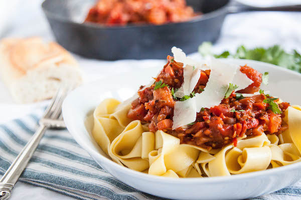 Vegan Eggplant Bolognese is a healthy comfort food that even better than its meaty counterpart!  TheCornerKitchenBlog.com