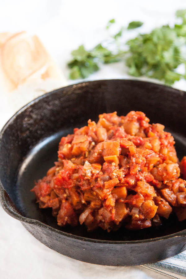 Vegan Eggplant Bolognese is a hearty, healthy, delicious alternative to the traditional sauce.  TheCornerKitchenBlog.com
