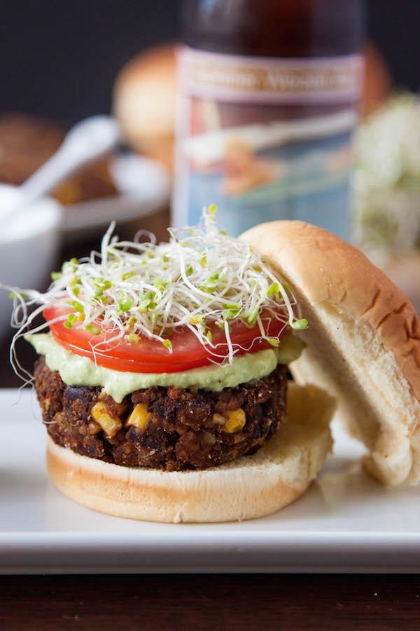 Meet the veggie burger of your dreams....Chipotle Black Bean Freekeh Sliders with Avocado Lime Crema!   TheCornerKitchenBlog.com #BurgerWeek #freekeh #veggieburger