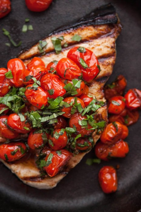 Grilled Swordfish with Tomatoes and Basil is an easy weeknight dinner packed with great summer flavors!| TheCornerKitchenBlog.com