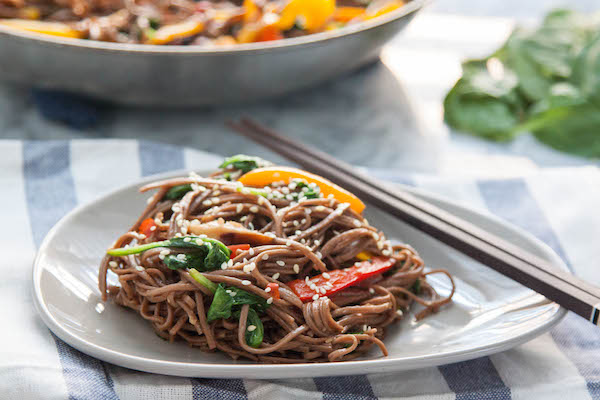 This simple vegan and gluten free Sweet Pepper and Mushroom Soba Noodle Stir Fry is fresh, delicious and you'll have it on the table in 20 minutes!