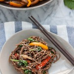 This simple vegan and gluten free Sweet Pepper and Mushroom Soba Noodle Stir Fry is fresh, delicious and you