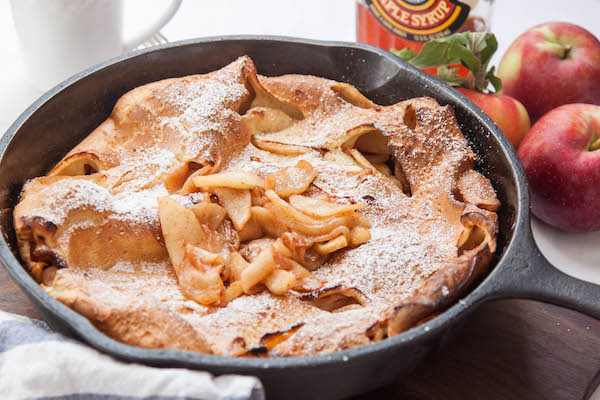 Up your brunch game with a Caramelized Apple Dutch Baby Pancake | TheCornerKitchenBlog.com #brunch #apple