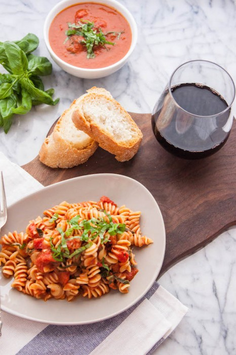Not much beats a big plate of pasta with Homemade (Vegan) Creamy Tomato Sauce...especially when you can get it on the table in 30 minutes! | TheCornerKitchenBlog.com