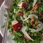Shredded Kale and Pear Salad with Maple Tahini Dressing {Vegan}