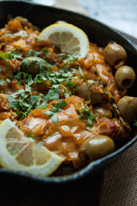 Braised Chicken Thighs with Olives and Lemon