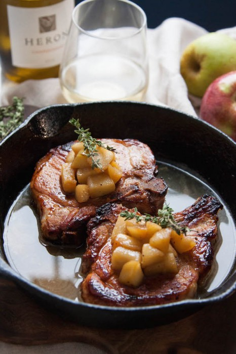 Cider-Brined Pork Chops with Sauteed Apples