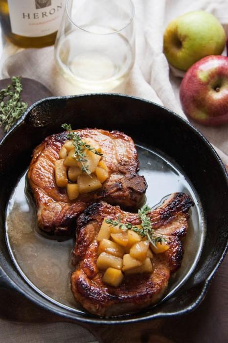 Cider Brined Pork Chops w/ Sauteed Apples Recipe - The Corner Kitchen