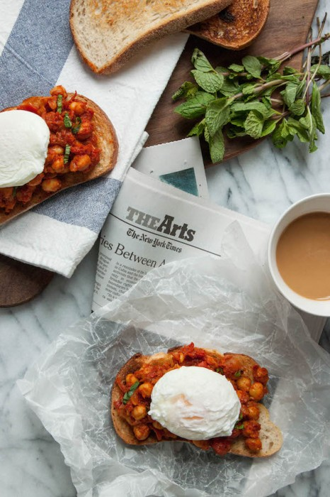 Harissa-Spiced Chickpeas with Poached Eggs